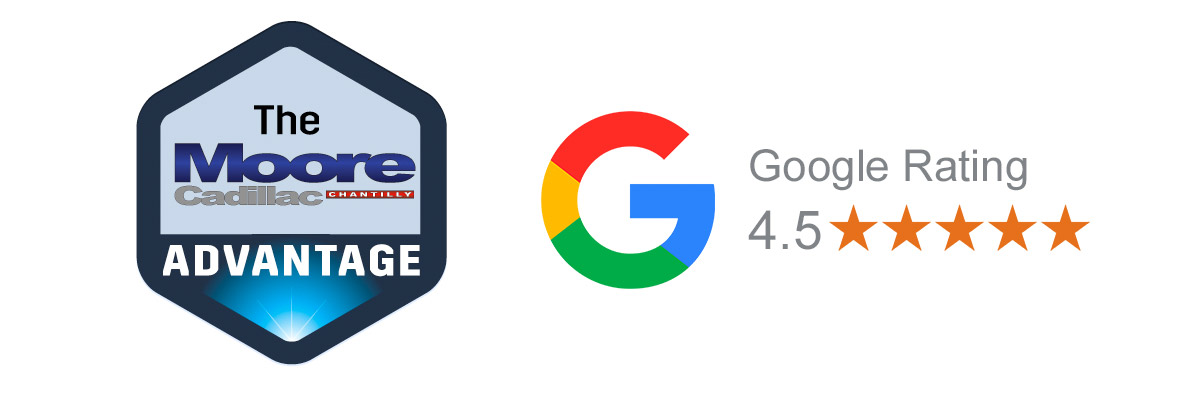 The Moore Cadillac Chantilly Advantage logo and the Google Rating logo