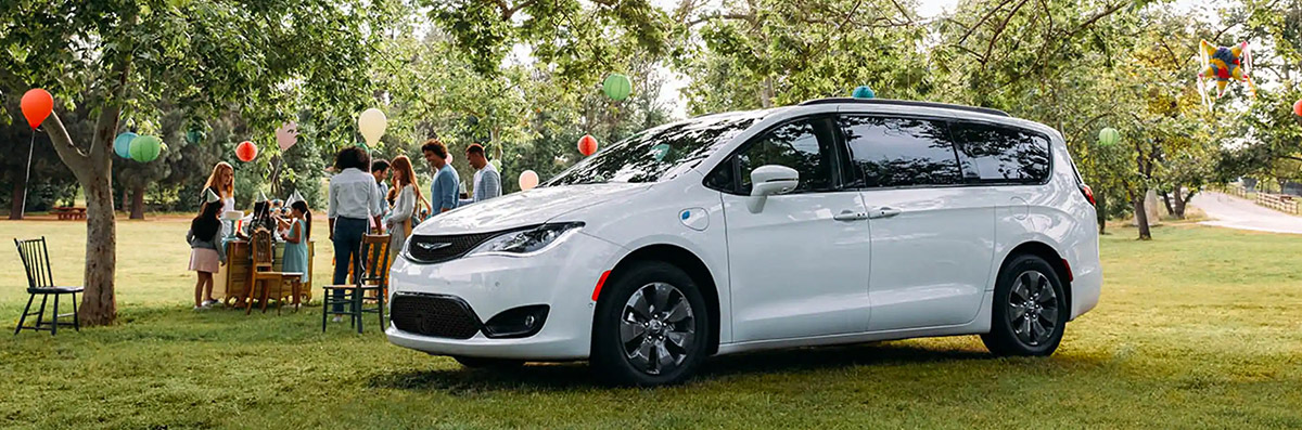 2020 Chrysler Pacifica Hybrid parked at birthday party